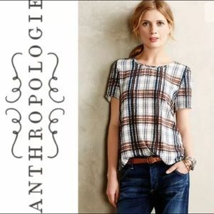 Anthropologie Maeve Draped Plaid Blouse